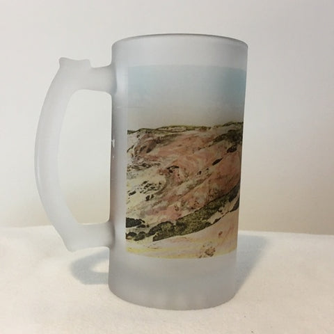 Colorful Frosted Glass Mug of Gay Head Light in Aquinnah, MA - That Fabled Shore Home Decor