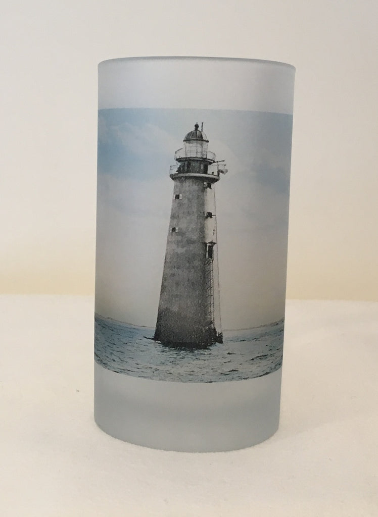 Colorful Frosted Glass Mug of Minot's Light - Number 4 In A Series - That Fabled Shore Home Decor