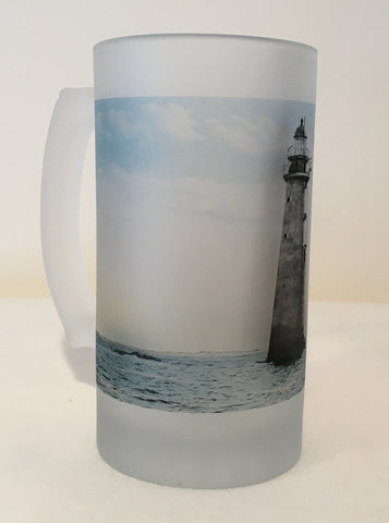 Colorful Frosted Glass Mug of Minot's Light - That Fabled Shore Home Decor