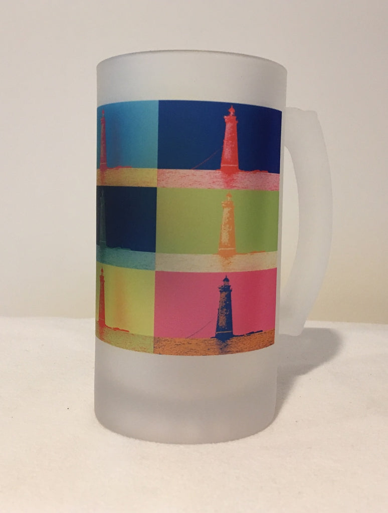 Colorful Frosted Glass Mug of Minot's Light In The Style Of Andy Warhol - That Fabled Shore Home Decor