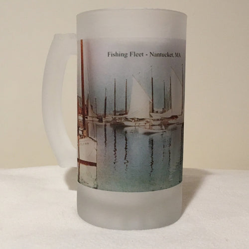 Colorful Frosted Glass Mug of Nantucket's Fishing Fleet - That Fabled Shore Home Decor