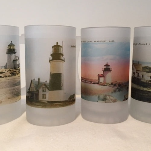Colorful Frosted Glass Mug Set of Four Nantucket Lighthouse Views - That Fabled Shore Home Decor