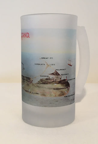 Colorful Frosted Glass Mug of The Island of Nantucket. - That Fabled Shore Home Decor