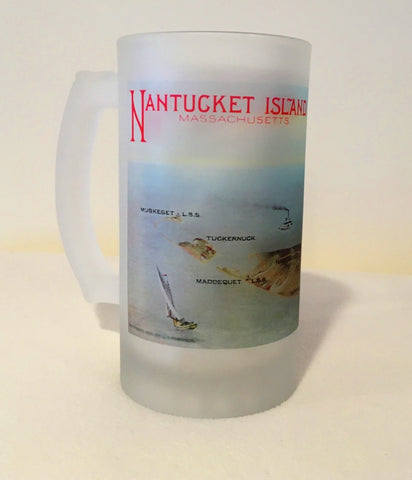 Colorful Frosted Glass Mug of The Island of Nantucket.