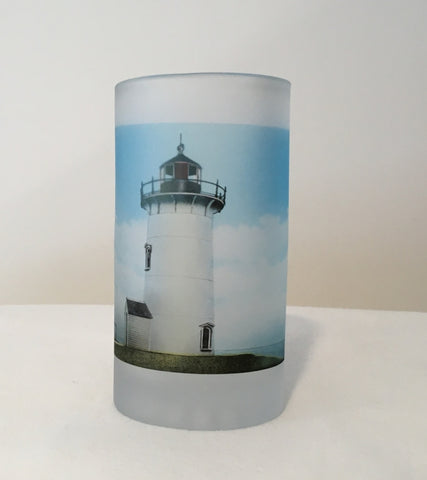 Colorful Frosted Glass Beer Mug of Nobska Light in Falmouth, MA on Cape Cod - That Fabled Shore Home Decor
