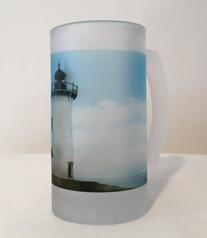 Colorful Frosted Glass Mug of Nobska Light in Falmouth, MA on Cape Cod - That Fabled Shore Home Decor