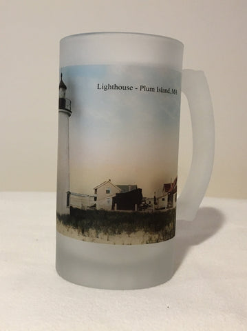 Colorful Frosted Glass Mug of Plum Island Light  In Newburyport, MA - That Fabled Shore Home Decor