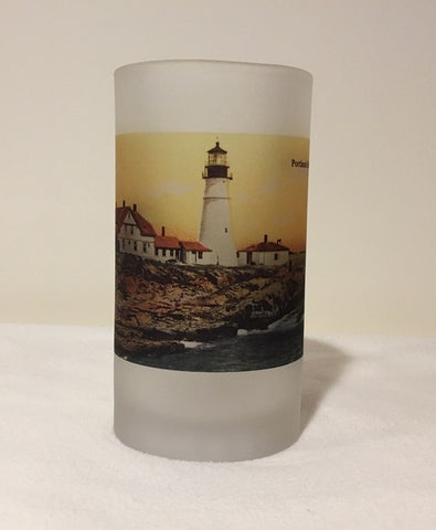 Colorful Frosted Glass Mug of Portland Head Light - That Fabled Shore Home Decor