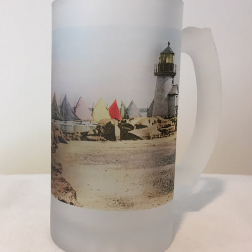 Colorful Frosted Glass Beer Mug of Nantucket's Rainbow Fleet Rounding Brant Point - That Fabled Shore Home Decor