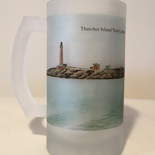 Colorful Frosted Glass Mug of The Twin Lights of Thatcher Island off Rockport, MA.. - That Fabled Shore Home Decor