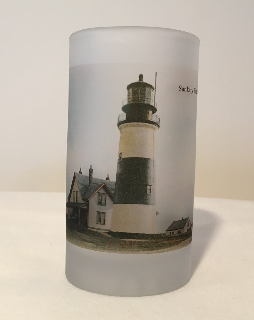 Colorful Frosted Glass Mug Of Nantucket's Sankaty Light - That Fabled Shore Home Decor