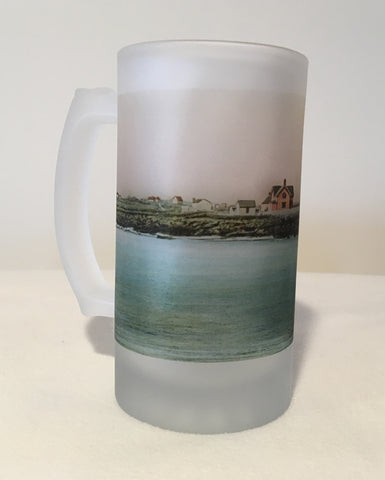 Colorful Frosted Glass Mug of Rockport's Straitsmouth Light - That Fabled Shore Home Decor