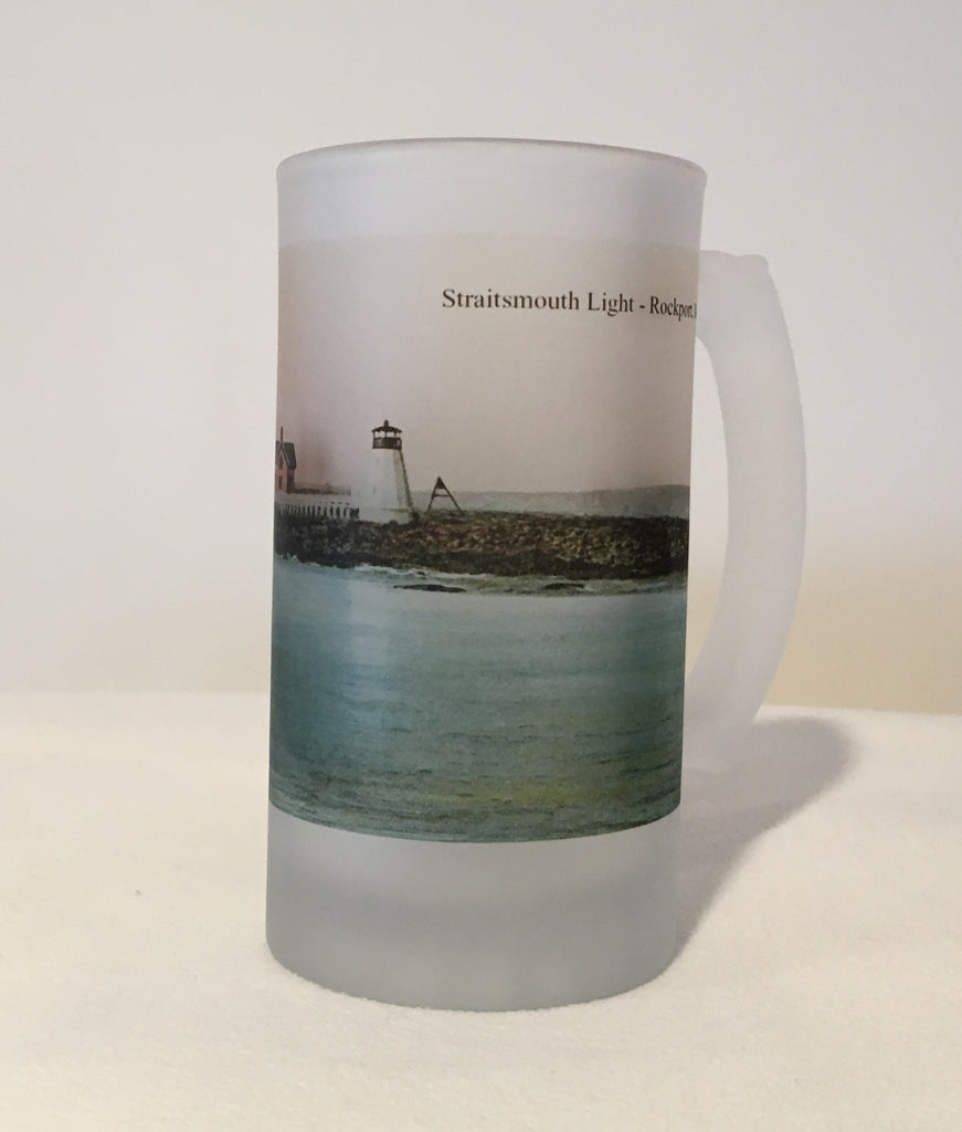 Colorful Frosted Glass Mug Set Of 5 North Shore Lighthouses - That Fabled Shore Home Decor