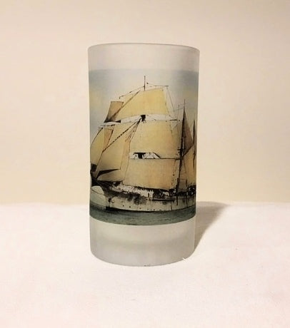 Colorful Frosted Glass Beer Mug of USS Nantucket Under Sail - That Fabled Shore Home Decor