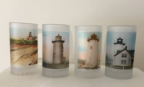 Colorful Frosted Glass Mug Set Of 4 Martha's Vineyard Lighthouses - That Fabled Shore Home Decor