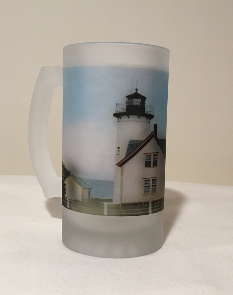 Colorful Frosted Glass Mug of West Chop Light in Tisbury, MA - That Fabled Shore Home Decor