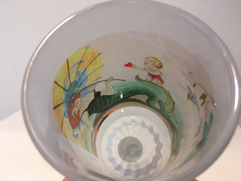 Colorful Frosted Glass Mug Of Art Deco Mermaid And Cupid - That Fabled Shore Home Decor