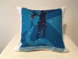 Art Deco Zodiac Pillow - Aquarius - That Fabled Shore Home Decor