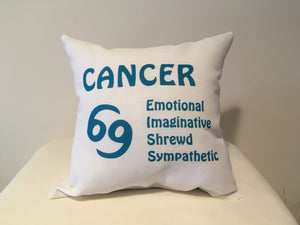 Art Deco Zodiac Pillow - Cancer - That Fabled Shore Home Decor