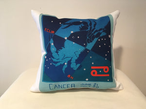 Art Deco Zodiac Pillow - Cancer