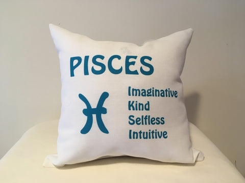 Art Deco Zodiac Pillow - Pisces - That Fabled Shore Home Decor