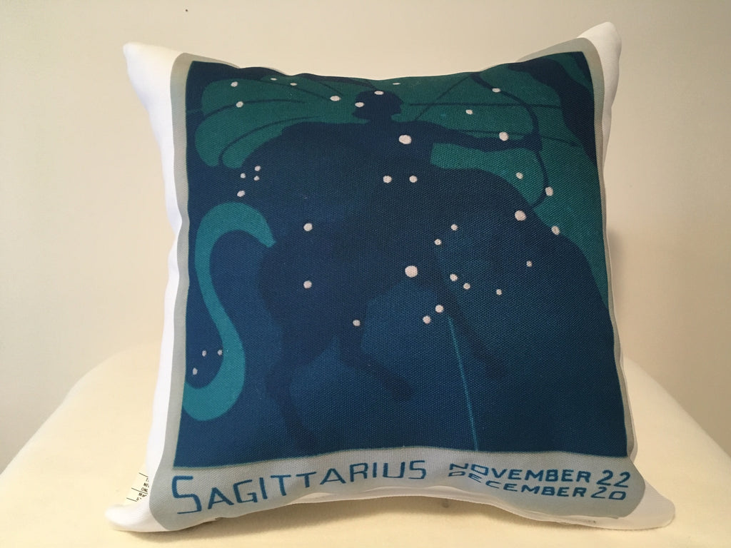 Art Deco Zodiac Pillow - Sagittarius - That Fabled Shore Home Decor