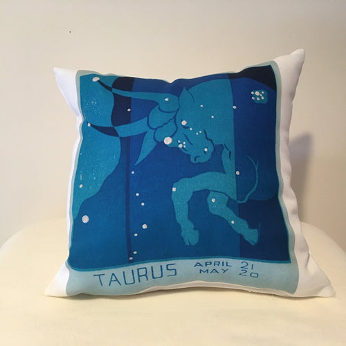 Art Deco Zodiac Pillow - Taurus - That Fabled Shore Home Decor