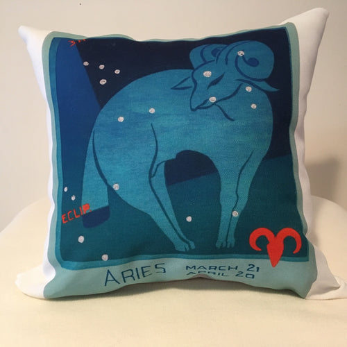 Art Deco Zodiac Pillow - Aries - That Fabled Shore Home Decor