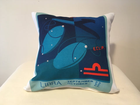 Art Deco Zodiac Pillow - Libra - That Fabled Shore Home Decor