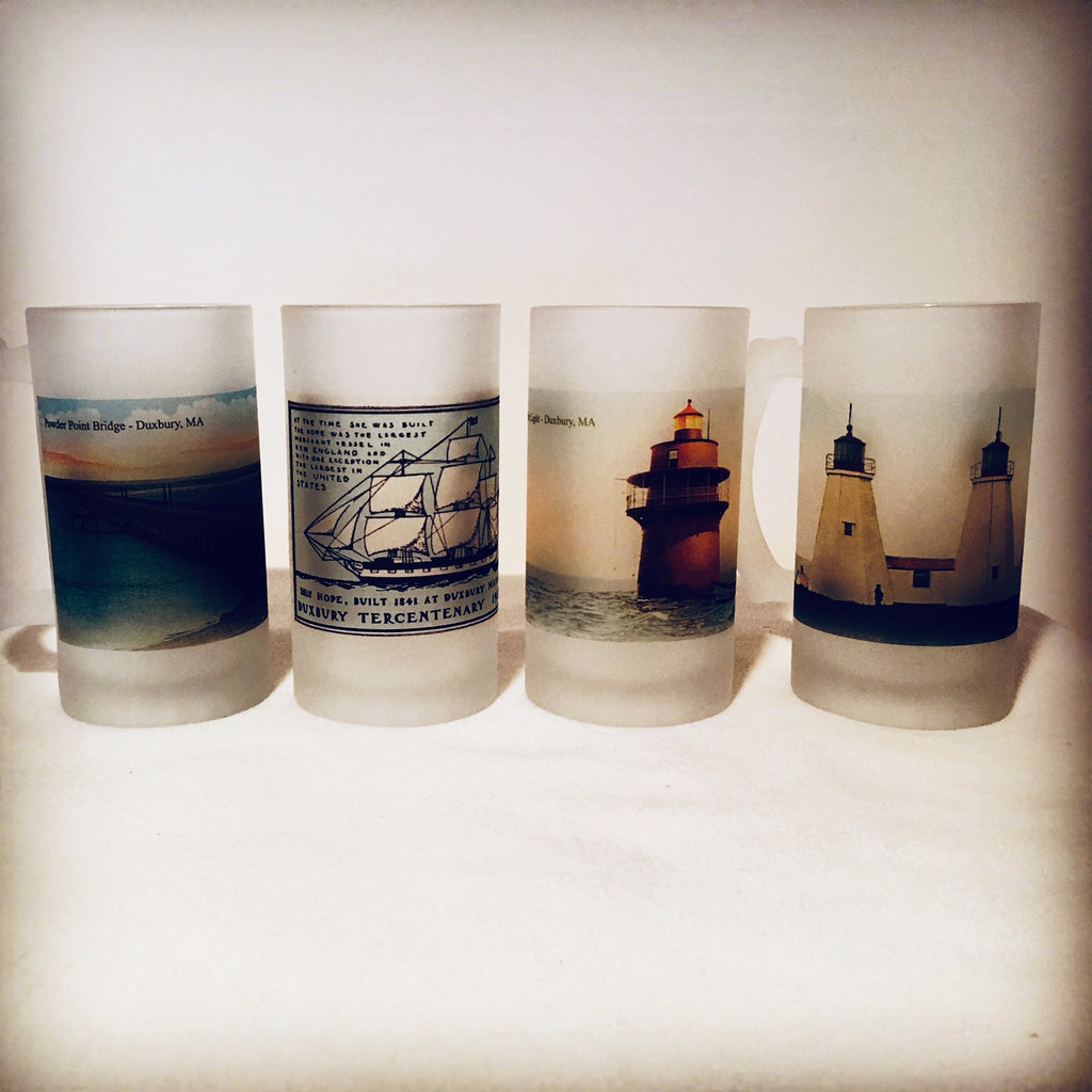 Colorful Frosted Glass Beer Mug Set of (4) Duxbury Including Bug Light and Gurnet Lights. - That Fabled Shore Home Decor