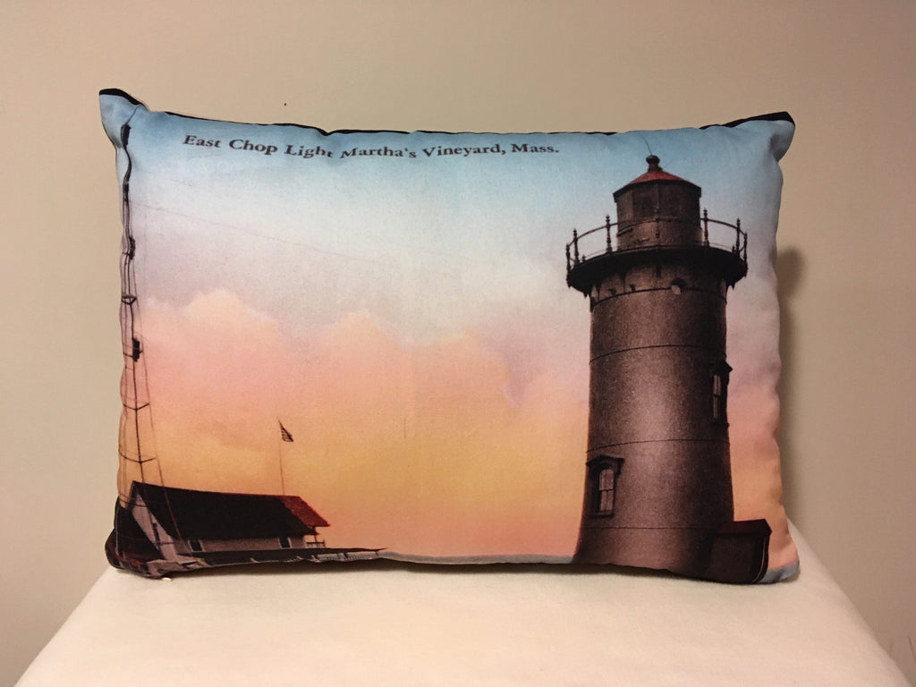 Colorful Cotton Twill Pillow Of East Chop Light in Oak Bluffs, MA - That Fabled Shore Home Decor