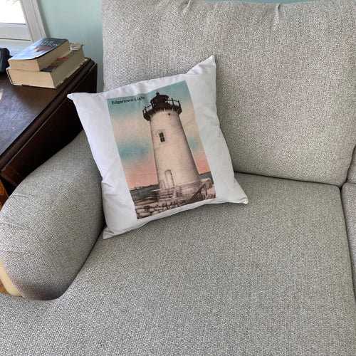 Edgartown Lighthouse Pillow in Soft Sueded Cotton