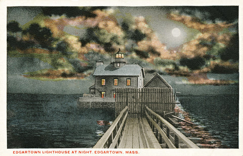 Edgartown Lighthouse At Night Pre-1938 Night Light - That Fabled Shore Home Decor