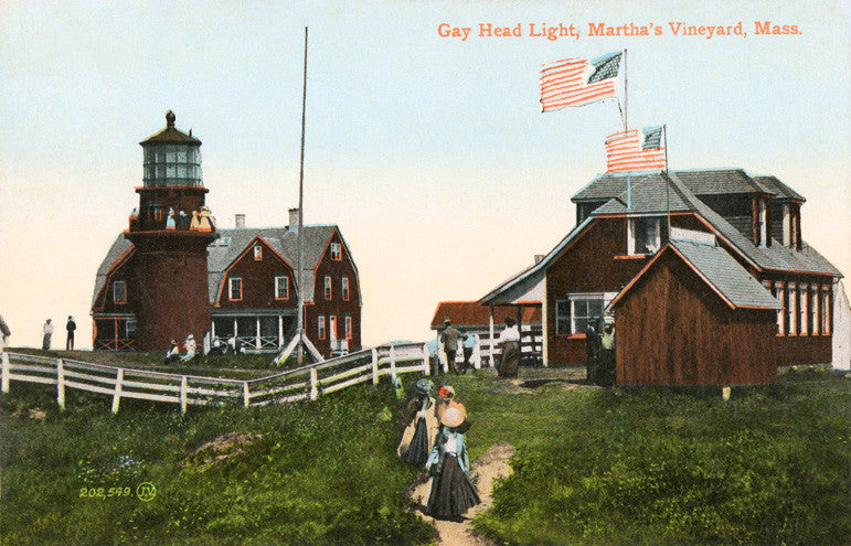 Gay Head Lighthouse With Picnic Group Circa 1900 Night Light - That Fabled Shore Home Decor