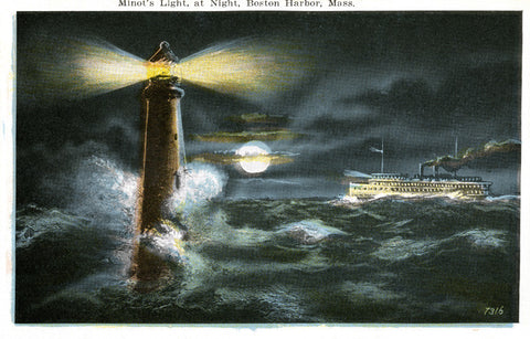 Cohasset, MA - Minot Light With Passing Steamship Night Light - That Fabled Shore Home Decor