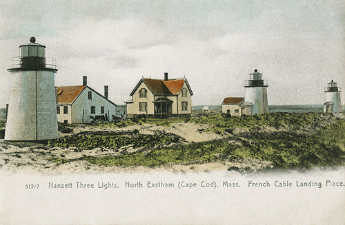 Eastham, MA Nauset Beach Three Sisters Lights Night Light - That Fabled Shore Home Decor