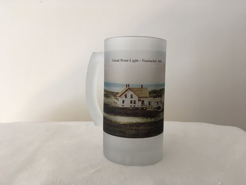 Colorful Frosted Glass Beer Mug of Nantucket's Great Point Light - That Fabled Shore Home Decor