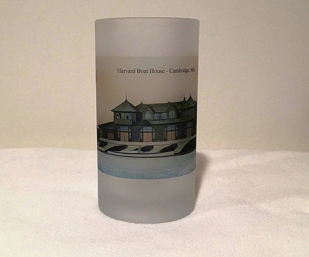 Colorful Frosted Glass Beer Mug of The Harvard Boat House in Cambridge, MA. - That Fabled Shore Home Decor