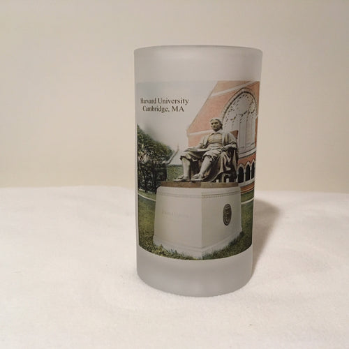 Harvard University Frosted Glass Mug Featuring John Harvard - That Fabled Shore Home Decor