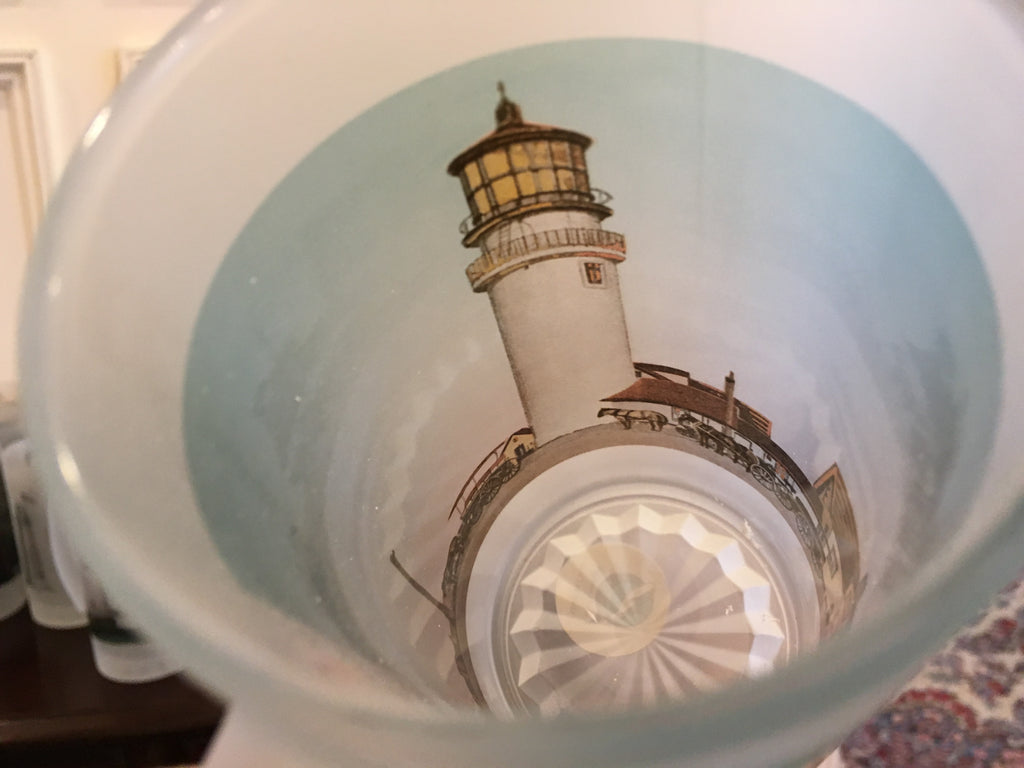 Colorful Frosted Glass Mug of Cape Cod's Highland Light - That Fabled Shore Home Decor