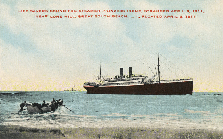 "Long Island, Great South Beach - Steamer ""Prinzess Irene"" Night Light - That Fabled Shore Home Decor"