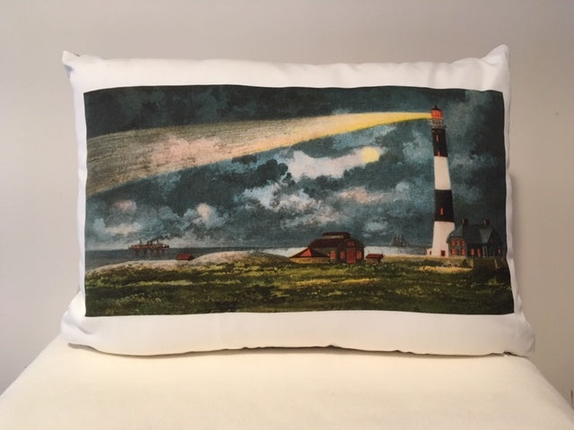 Colorful Lighthouse Pillow Of Fire Island Light on Long Island, NY In Cotton Twill Featuring Day And Night Images - That Fabled Shore Home Decor