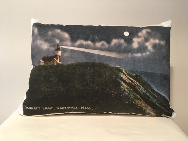 Colorful Cotton Twill Pillow Of Nantucket's Sankaty Light - That Fabled Shore Home Decor