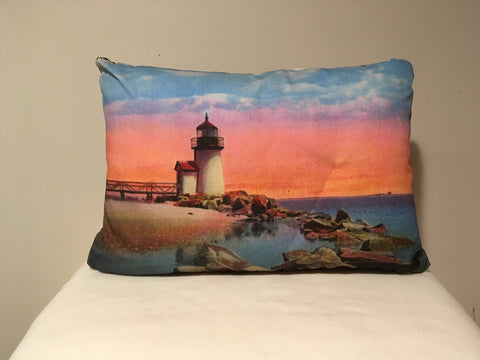 Colorful Cotton Twill Pillow Of Brant Point Light in Nantucket - That Fabled Shore Home Decor