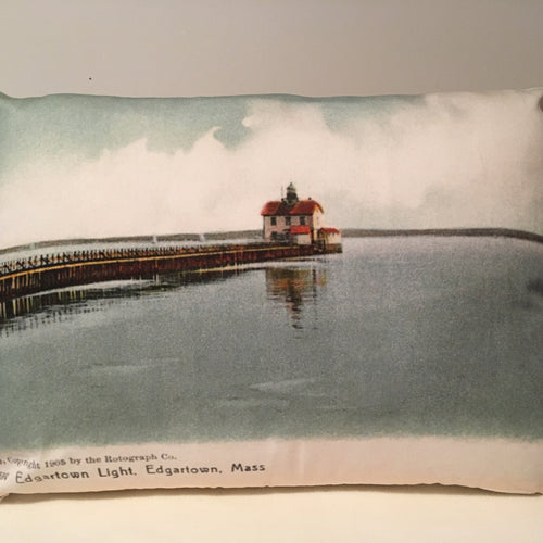 Colorful Cotton Twill Pillow Of First Edgartown Light - That Fabled Shore Home Decor
