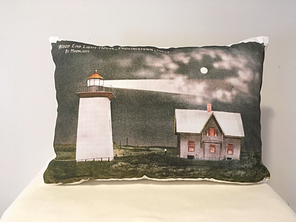 Colorful Cotton Twill Pillow of Wood End Light in Provincetown, MA - That Fabled Shore Home Decor