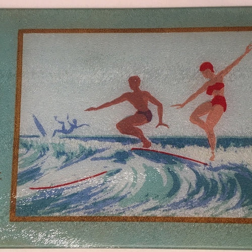 Lady Surfer of Malibu As A Colorful Tempered Glass Cutting Board - That Fabled Shore Home Decor