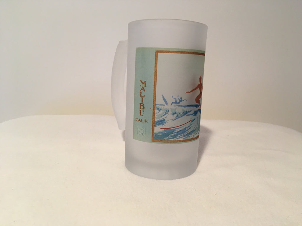Colorful Frosted Glass Mug of Lady Surfer in Malibu, CA from Serigraph - That Fabled Shore Home Decor