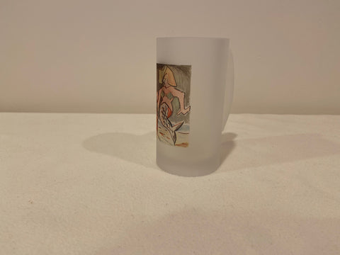 Frosted Glass Beer Mug of Art Deco Diva Mermaid - That Fabled Shore Home Decor