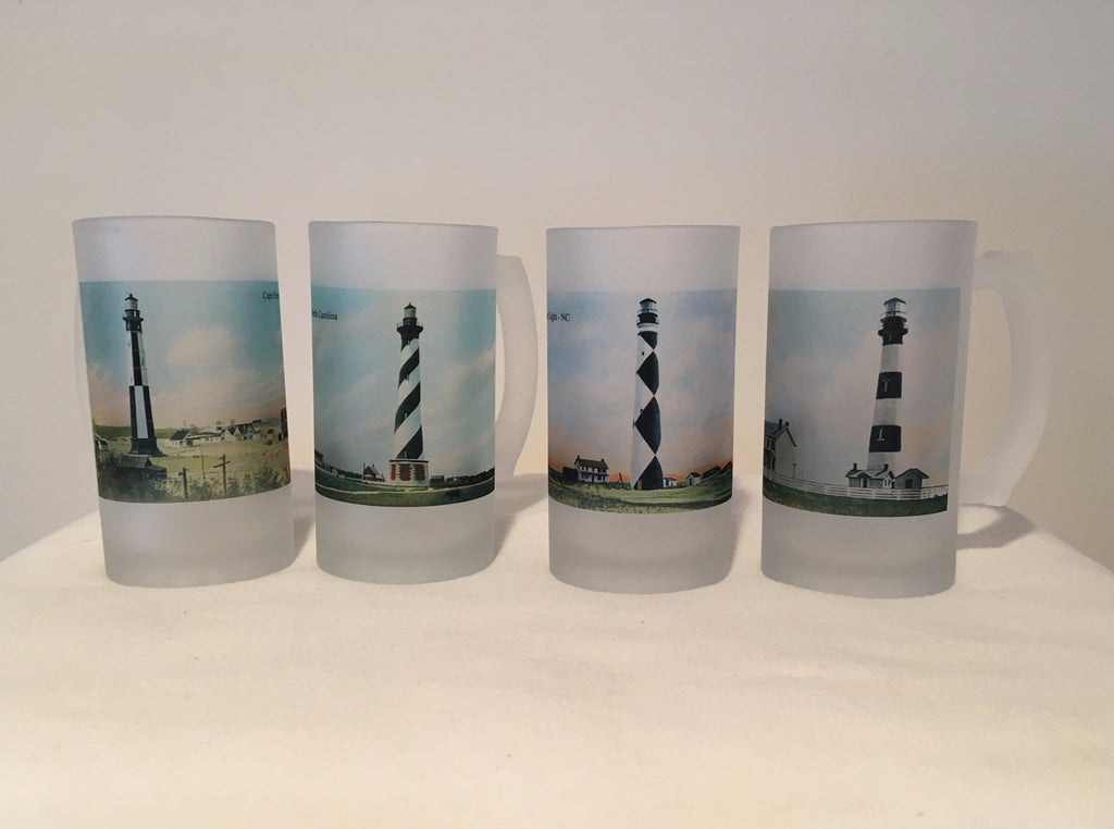 Colorful Frosted Glass Beer Mug Set of (4) Black & White Mid-Atlantic Lighthouses